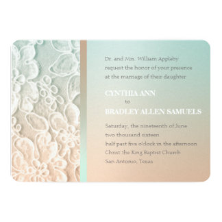 Mint Green And Peach Lace Wedding Card