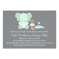Mint Green Elephant Little Bird Baby Shower Card