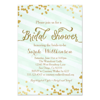 Mint Green Gold Wedding Bridal Shower Invitation