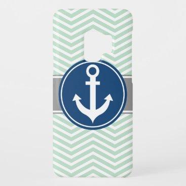 Mint Green Nautical Anchor Chevron Case-Mate Samsung Galaxy S9 Case