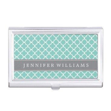 Mint Green Quatrefoil Pattern Business Card Case