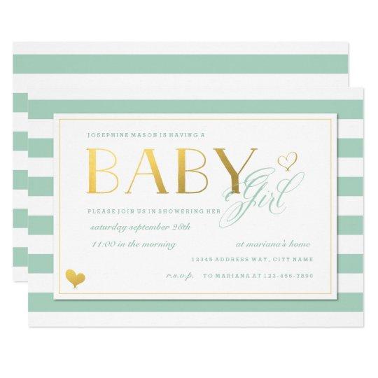 Mint Green White Stripe Gold S Baby Shower Invitation