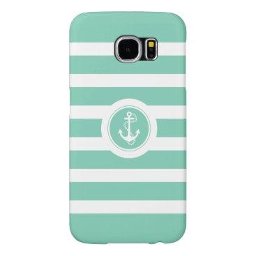 Mint-Green & White Stripes Nautical Anchor Samsung Galaxy S6 Case