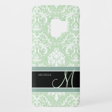 Mint Ice Cream Green and white vintage damask Case-Mate Samsung Galaxy S9 Case
