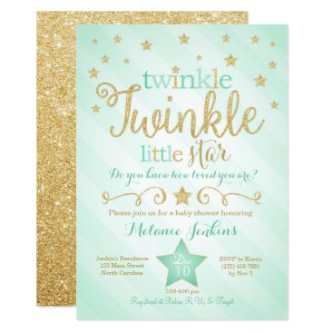 Mint Twinkle Little Star Baby Shower Invitation