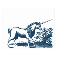 Miscellaneous - Blue Vintage: Unicorn Postcard
