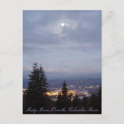 Misty Moon Over the Columbia River postcard
