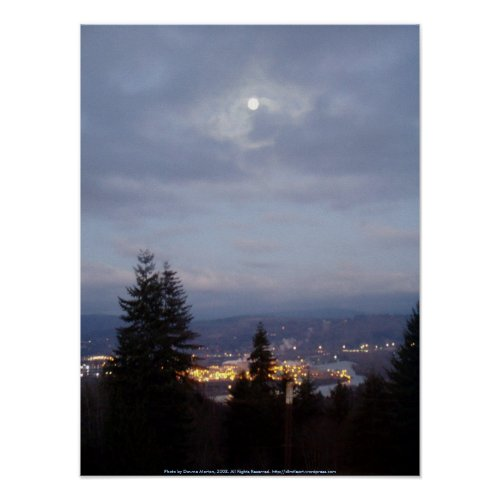 Misty Moon Over the Columbia River print