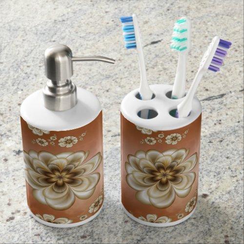 Mocha Marble Sepia Floral Bath Set