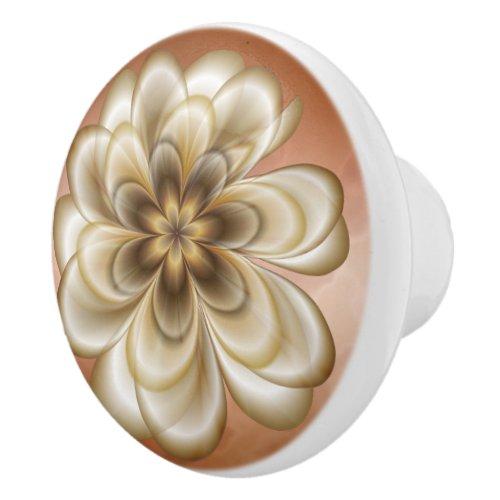 Mocha Rose Marble Sepia Floral Ceramic Knob