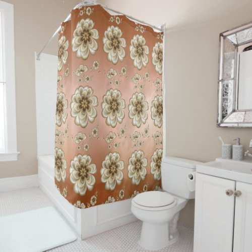 Mocha Rose Marble Sepia Floral Shower Curtain