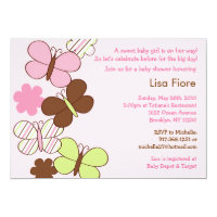 Mod Butterfly Custom Baby Shower Invitations