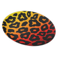Red-Orange Yellow Mod Fiery Leopard Party Plates on Zazzle