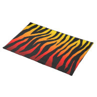 Mod Fiery Zebra Print Place Mat on Zazzle