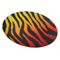 Red-Orange Yellow Mod Fiery Zebra Print Dinner Plate on Zazzle