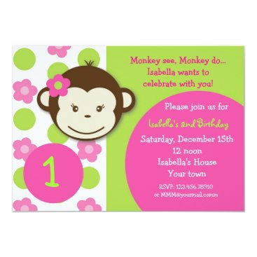 Mod Monkey Girl BIrthday Party Invitations