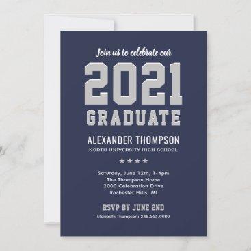 Modern 2021 Graduate Navy Gray Graduation Party Invitation