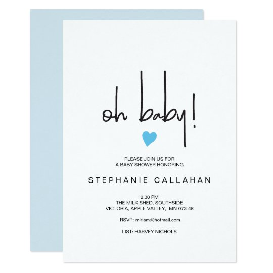 Modern Baby Boy Shower Invitation Blue Heart