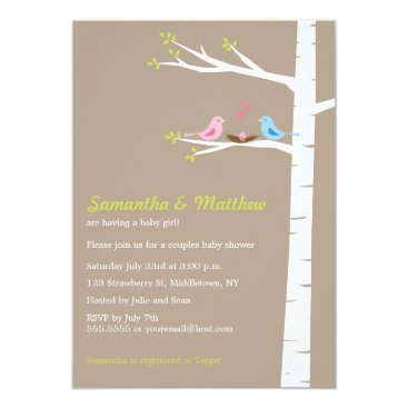 Modern Birds Couples Baby Shower Invitation Girl