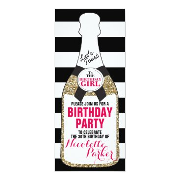 Modern Birthday Party Invitation Champagne 30th