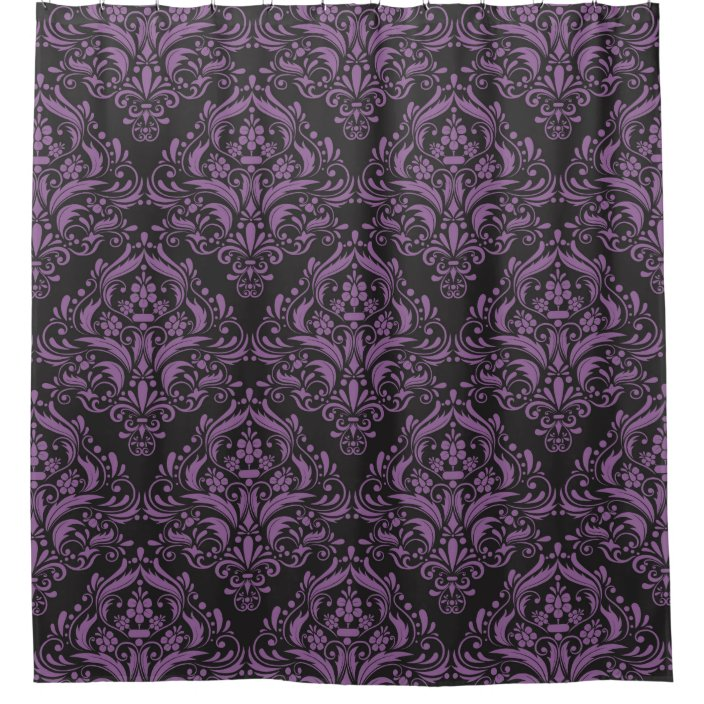 modern black and purple damask pattern shower curtain zazzle com