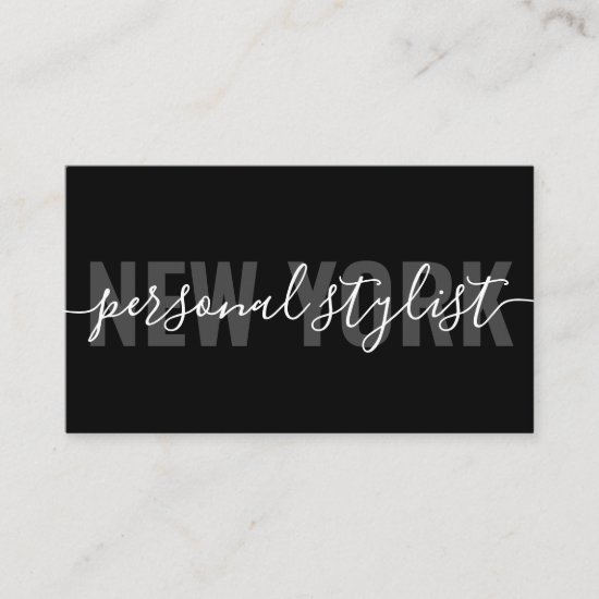 Modern black chic fashion stylist script signature business card