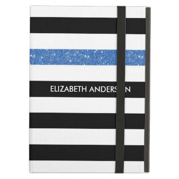 Modern Black Stripes FAUX Blue Glitz and Name Cover For iPad Air