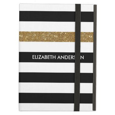 Modern Black Stripes FAUX Gold Glitz and Name Cover For iPad Air