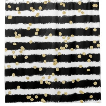 Modern black watercolor stripes chic gold confetti shower curtain