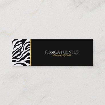 Modern Black & White Zebra Stripes with Gold Mini Business Card