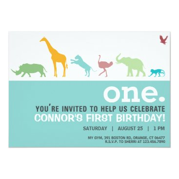 Modern Blue Animal Silhouette Birthday Invite