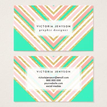 Modern boho pink gold turquoise chevron pattern business card