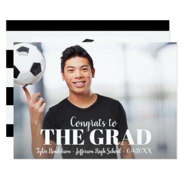 Modern Bold Stripe Graduation Photo Party Invite