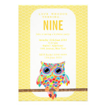 Modern Bright Birthday Party Rainbow Owl Invite