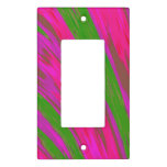 Modern Bright Pink Green Color Swish Abstract Light Switch Cover