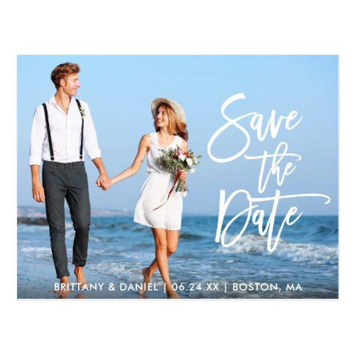 Modern Brush Script Save The Date Couple Photo WS Postcard
