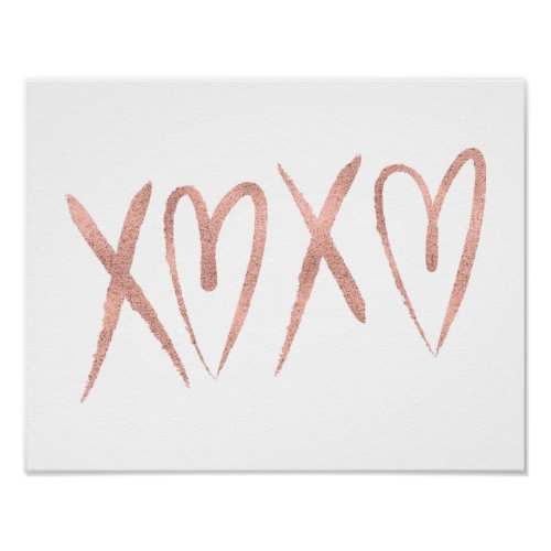 Modern Brushed Rose Gold Valentine Poster Sign