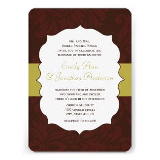 Modern Burgundy Chartreuse Damask Wedding Invite