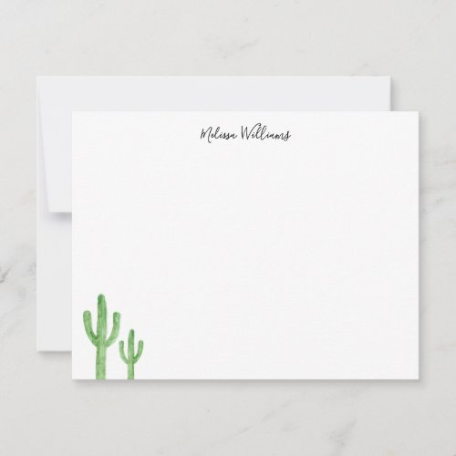 Modern Cactus Script Personalized Stationery Note Card