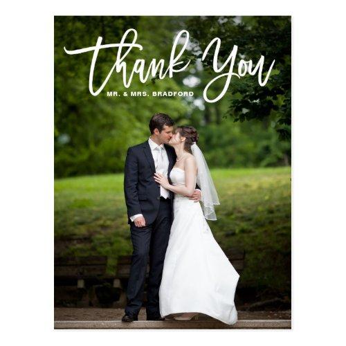 Modern Calligraphy Overlay Photo Wedding Thank You Postcard