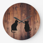 Modern cat silhouettes on rustic dark wood large clock
