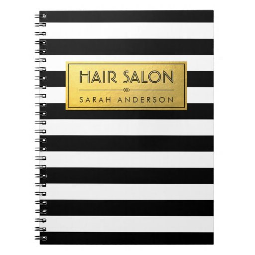 Modern Classy Gold Label and Black White Stripes Notebook