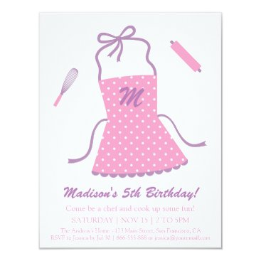 Modern Elegant Apron Cooking Baking Birthday Party Card