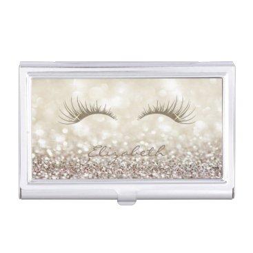 Modern Elegant Chic Glittery,Bokeh,Lashes Business Card Case