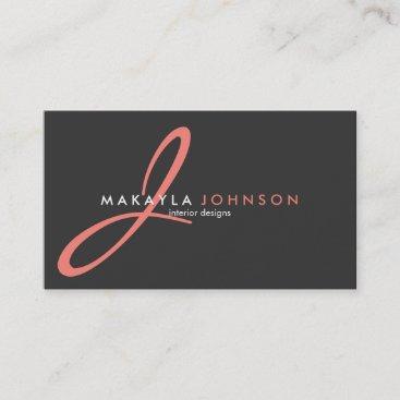 Modern & Elegant coral pink Monogram Professional Business Card