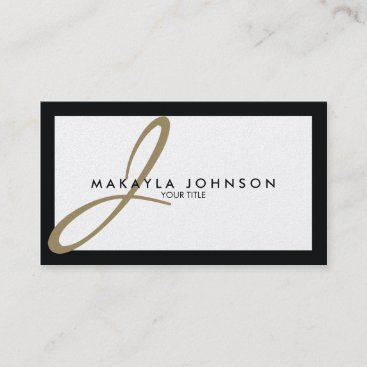 Modern & Elegant Gold Monogram Professional Business Card