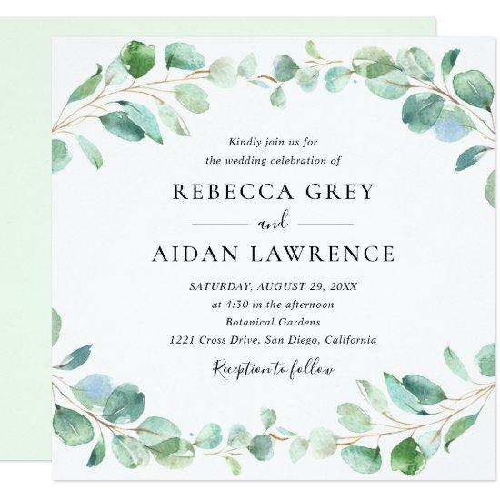 Modern Eucalyptus Greenery Foliage Wedding Square Invitation