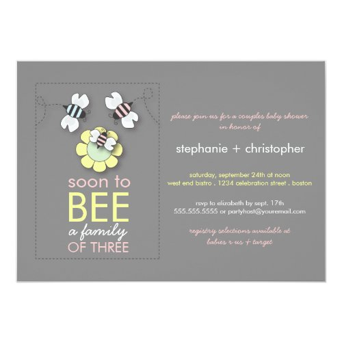 Modern Family to Bee Couples Baby Shower for Girl Invitation