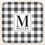 Modern Farmhouse Black Buffalo Plaid Monogrammed Square Paper Coaster