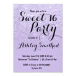 Modern faux lavender purple glitter ombre Sweet 16 Invitation